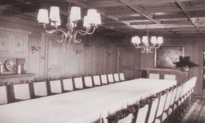 Seating up to thirty people, the main dining table would be covered in a hand-made 9m by 2m linen tablecloth