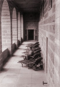 Adolf Hitler takes in the view from the sun terrace, during what would have been a very rare moment of solitude