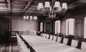 The Dining Room in 1940, with the feature table and hand-woven tablecloth